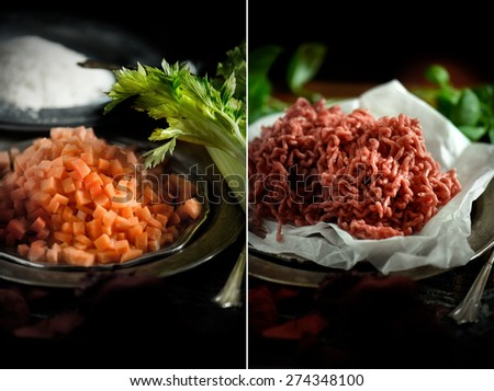Series of two images showing cooking ingredients for a classic Italian Spaghetti Bolognese, shot in a rustic setting against a dark background. Images can easily be cropped and selected individually. - stock photo