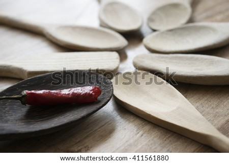 series of wooden spoons with a hot chilli
