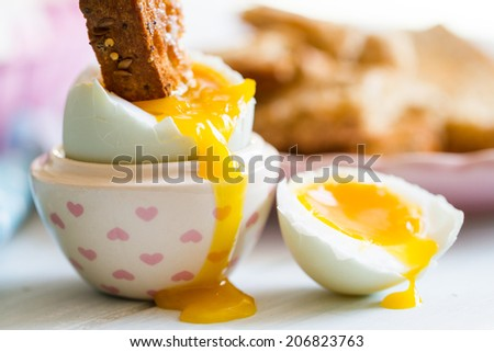 Series on boiled duck egg for breakfast, with toast soldiers