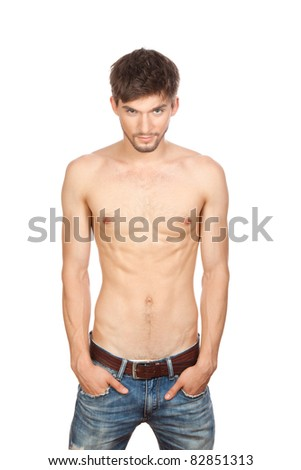 Series photo of young sexy muscular macho man posing in jeans with naked torso, fashion model with athletic sport body, isolated over white background - stock photo
