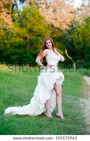 Series. Portrait of the young beautiful bride on the nature