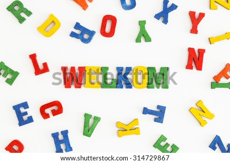 "Series ""Welcome"": word Welkom (welcome in Afrikaans, Dutch) in wooden letters on white background"