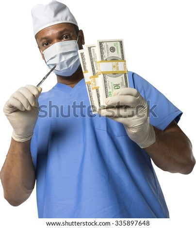 Serious African surgeon in uniform holding money - Isolated - stock photo