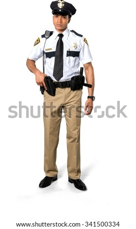 Serious African young man with short black hair in uniform holding handgun - Isolated - stock photo