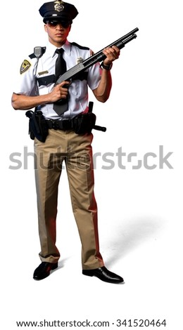 Serious African young man with short black hair in uniform holding shotgun - Isolated - stock photo