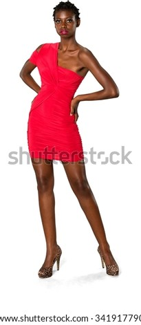 Serious African young woman with short black hair in evening outfit fashion pose - Isolated
