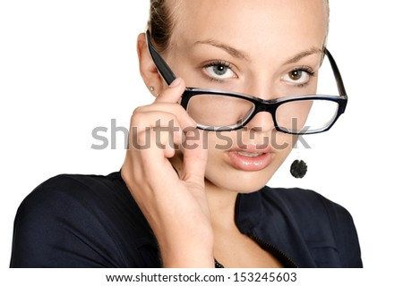 Serious and nice secretary girl portrait on white background
