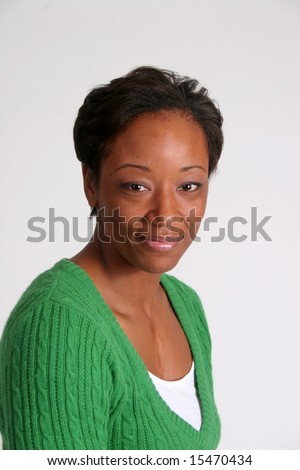 Serious and thoughtful African american Woman - stock photo