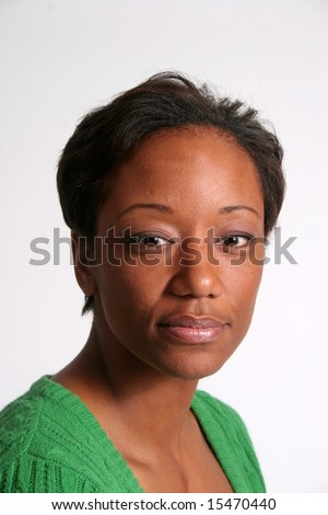 Serious and thoughtful Black woman - stock photo