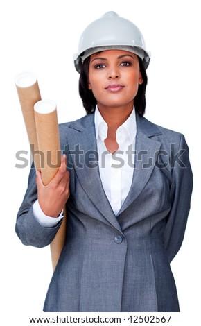 Serious architect holding blueprints isolated on a white background - stock photo