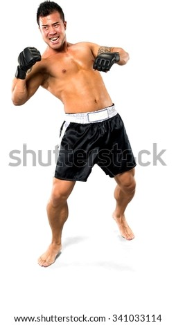 Serious Asian man with short black hair in athletic costume being in boxing stance - Isolated