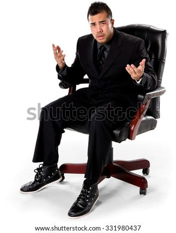 Serious Asian man with short black hair in business formal outfit with hands open - Isolated