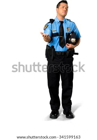 Serious Asian man with short black hair in uniform holding prop - Isolated