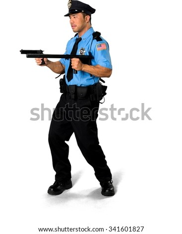 Serious Asian man with short black hair in uniform using handgun - Isolated