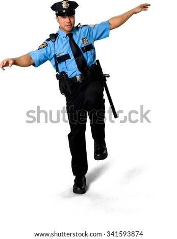 Serious Asian man with short black hair in uniform with arms open - Isolated