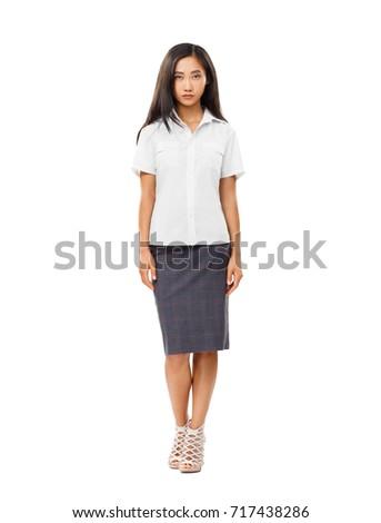 Serious Asian Young Woman Full Length Stock Photo 717438286 ...