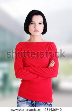 Serious beautiful scary woman portrait - stock photo