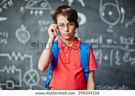 Serious boy - stock photo