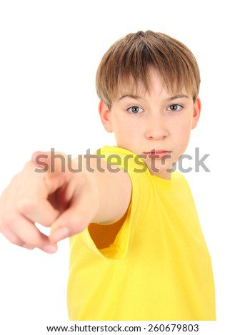 Serious Boy pointing Isolated on the White Background