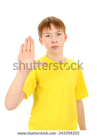 Serious Boy shows Stop hand gesture Isolated on the White Background
