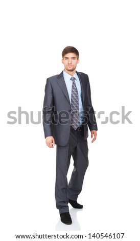 serious business man go walk making step up, businessman wear elegant suit and tie full length portrait isolated over white background