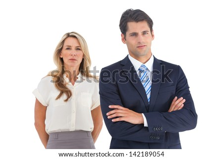 Serious businessman and woman on a white background