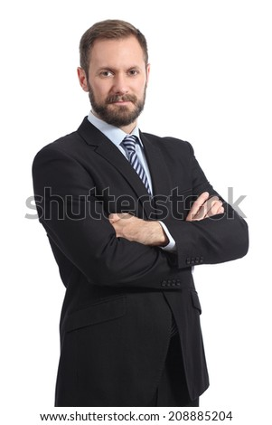 Serious businessman posing with folded arms isolated in a white background - stock photo