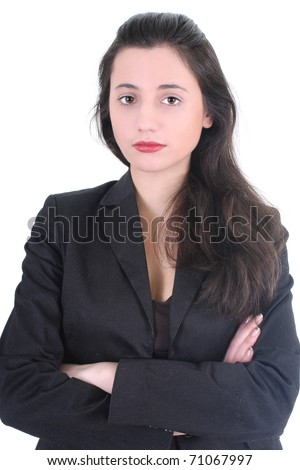 Serious businesswoman in black suit over white - stock photo
