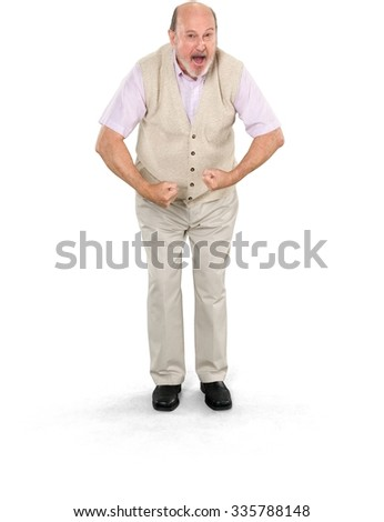 Serious Caucasian elderly man with short grey hair in casual outfit doing muscle pose - Isolated - stock photo