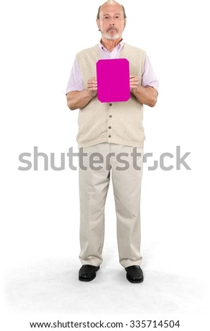 Serious Caucasian elderly man with short grey hair in casual outfit holding medium sign - Isolated - stock photo