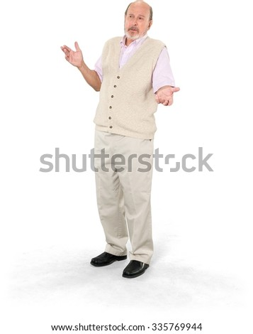 Serious Caucasian elderly man with short grey hair in casual outfit talking with hands - Isolated