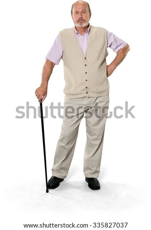 Serious Caucasian elderly man with short grey hair in casual outfit using walking stick cane - Isolated