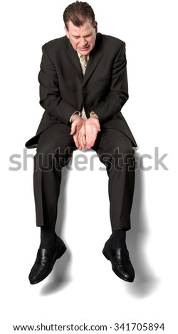 Serious Caucasian elderly man with short medium brown hair in business formal outfit cupped hands - Isolated - stock photo