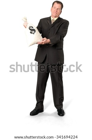 Serious Caucasian elderly man with short medium brown hair in business formal outfit holding money bag - Isolated - stock photo