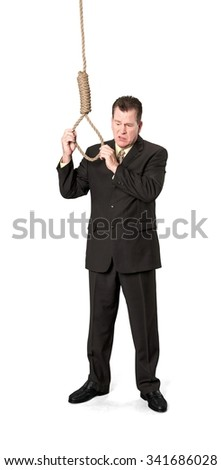 Serious Caucasian elderly man with short medium brown hair in business formal outfit holding noose - Isolated