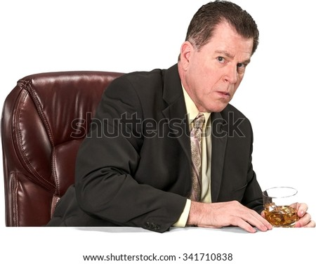 Serious Caucasian elderly man with short medium brown hair in business formal outfit holding office chair - Isolated