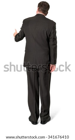 Serious Caucasian elderly man with short medium brown hair in business formal outfit pressing with finger - Isolated