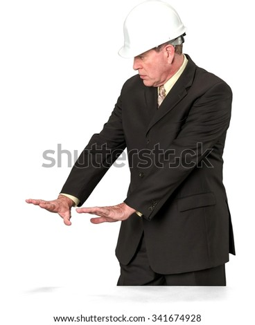 Serious Caucasian elderly man with short medium brown hair in business formal outfit showing stop hand - Isolated