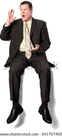 Serious Caucasian elderly man with short medium brown hair in business formal outfit talking with hands - Isolated - stock photo