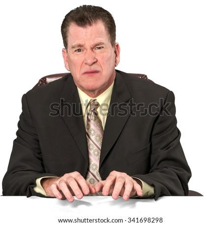 Serious Caucasian elderly man with short medium brown hair in business formal outfit typing on imaginary prop office chair - Iso - stock photo
