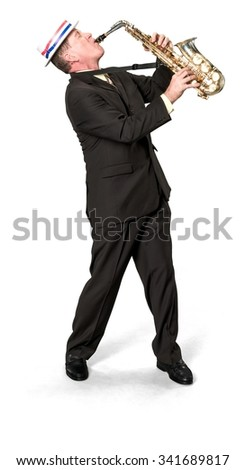 Serious Caucasian elderly man with short medium brown hair in business formal outfit using musical instrument - Isolated