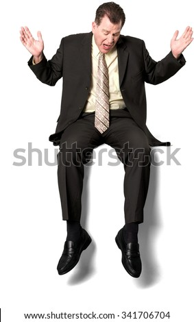 Serious Caucasian elderly man with short medium brown hair in business formal outfit with arms open - Isolated - stock photo