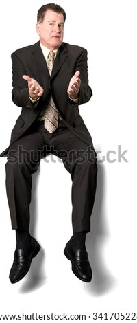 Serious Caucasian elderly man with short medium brown hair in business formal outfit with hands open - Isolated - stock photo