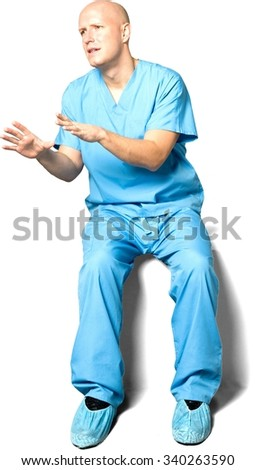 Serious Caucasian man in uniform talking with hands - Isolated - stock photo