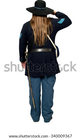 Serious Caucasian man with long dark brown hair in uniform saluting - Isolated
