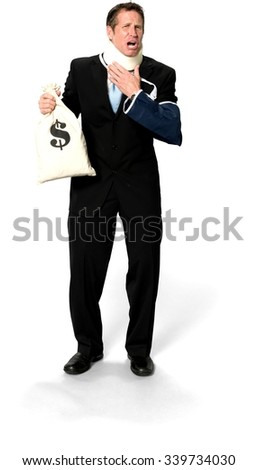 Serious Caucasian man with short black hair in business formal outfit holding money bag - Isolated - stock photo