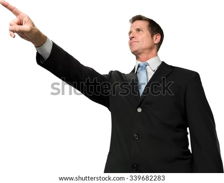 Serious Caucasian man with short black hair in business formal outfit pointing using finger - Isolated