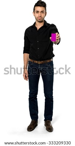 Serious Caucasian man with short black hair in casual outfit holding business card - Isolated - stock photo