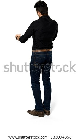 Serious Caucasian man with short black hair in casual outfit - Isolated