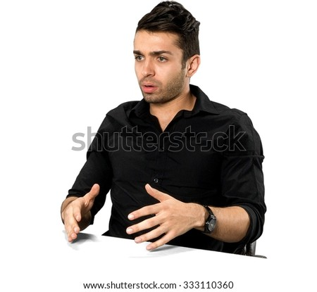 Serious Caucasian man with short black hair in casual outfit talking with hands - Isolated
